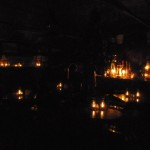 Hurricane Sandy - 29 Oct. 2012.  The taproom by oil lamp light.