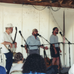 Sea-rap, or C-rap.  Jim Bennet, Cliff Haslam, Paul Elliott at the Sea Music Fest in Mystic, 2001.  Photo by Gene Cartagena.