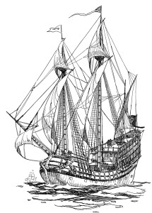 16th century vessel sailing on a bowline.