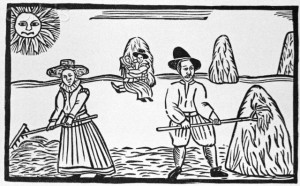 17th-Century Woodcut of Couples During Harvest