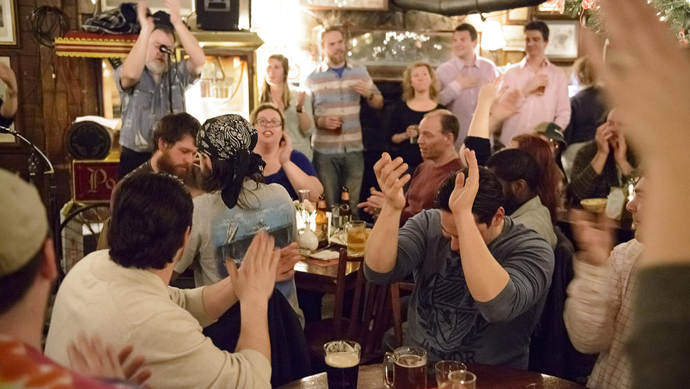 The Jovial Crew leads the Tap Room in sea chanties on Monday nights. (Nick Caito, Special to the Courant)